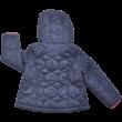 Lila őszi kapucnis kabát.