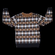 Barna kockás pulóver (110-116)