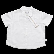 Fehér lenvászon rövid ujjú ing ( 74)