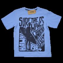 Kék pamut fiú póló 134-es méretben.