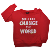 Girls piros flitteres pulóver (146-152)