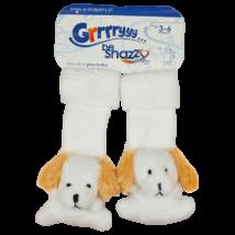 Csörgős fehér babazokni kutya mintával.