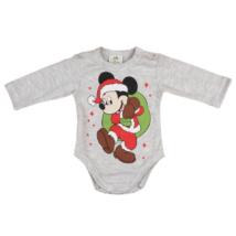 Mickey mikulás ruhában szürke body (74-86)