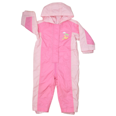 Rózsaszín esővédő lány baba overál 92-es méretben.