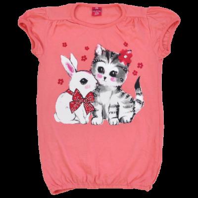 Kislány póló cica és nyuszi mintával-116