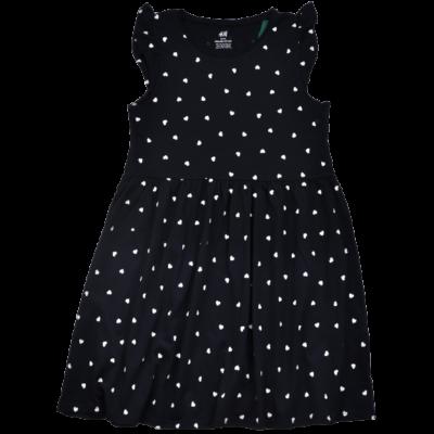 Sötétkék szív mintás nyári gyerekruha-134-140