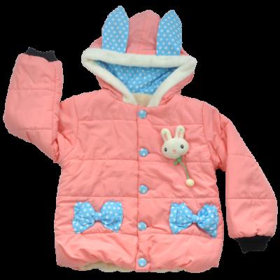 Rózsaszín bélelt gyerek kabát 104-es méretben.