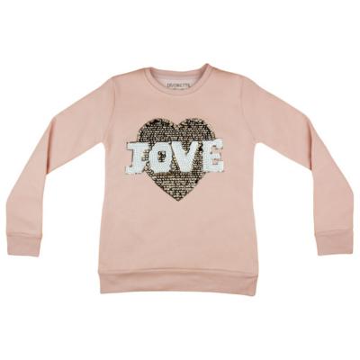 Rózsaszín csillámos pulóver (134-146)