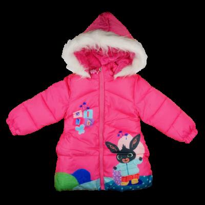 Bing nyuszi mintás rózsaszín kislány meleg télikabát.