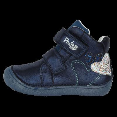 Szupinált gyerekcipő Ponte20-lányoknak-sötétkék-szív-mintával