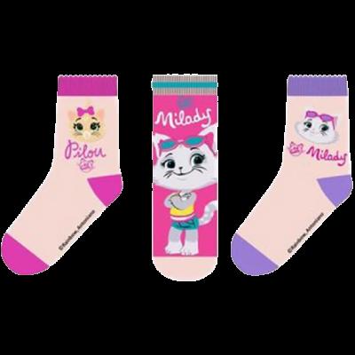 44 cicus-pamut gyerek zokni szett cica mintával.